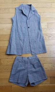 Bkk trendy checkered vest + shorts