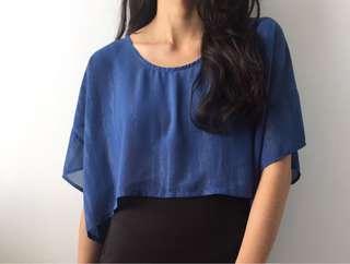 Blue Texture Crop Top