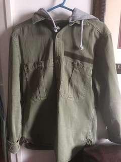 Zara Man Olive Green Jacket w/ hood size medium