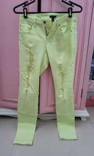 Forever 21 green lime ripped jeans