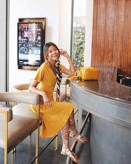 RELYSA ASYMMETRICAL DRESS in mustard