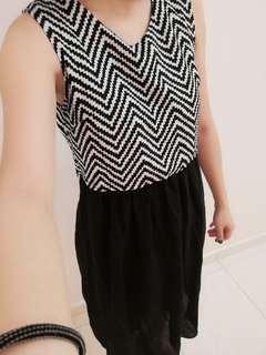 Black and white stripes midi dress