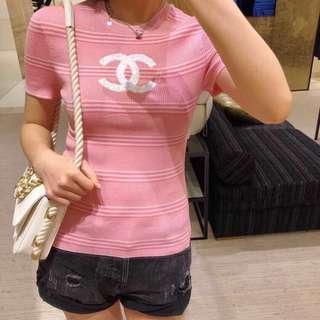 Chanel 短袖logo針織衫