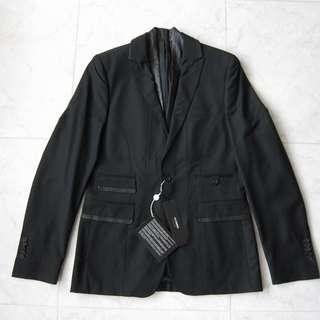 🚚 Les Hommes Leather Lapel Contrast Stitching Blazer Jacket