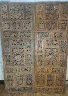 海南花梨木雕刻百年屏風古物 喜歡價錢可議