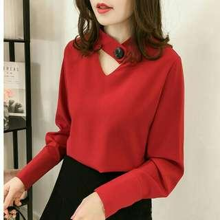 *FREE DELIVERY to WM only / Pre order +-10-15 days* Ladies chiffon long sleeves top blouse each as shown design / color red, pink, black. Free delivery is applied for this item.