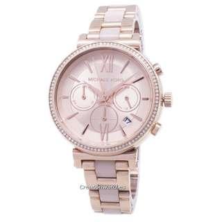 44189554ab3c Michael Kors Sofie Chronograph Quartz Diamond Accent MK6560 Women s Watch