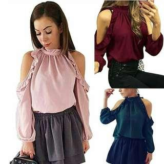 *FREE DELIVERY to WM only / Pre order +-10-15 days* Ladies shoulder ruffle ling sleeves each as shown design / color red, pink, green. Free delivery is applied for this item.
