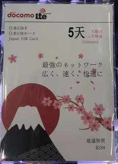 日本5日4G無限上網卡