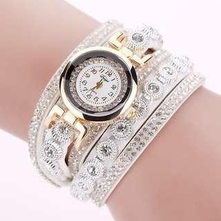 Jam Tangan Wanita Model Gelang Rhinestone - DY038 - White