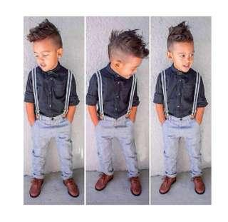 Boy long sleeve shirt and pant and suspenders