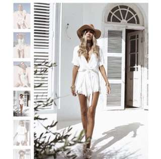 ab12443e34 BNWOT Sabo skirt darcie linen playsuit in white