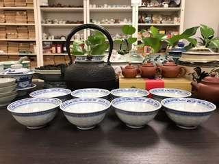 80年代青花米通小茶碗#1958,9*4cm左右,單個售價