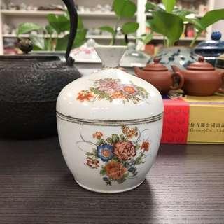 民國印花貼花花卉紋糖罐蓋罐#525,9*11cm左右,品相基本完整