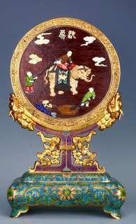 回流:銅胎景泰藍、漆器嵌百寶龍紋插屏