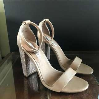 Steve Madden Nude Heels with Diamond Blings at the Back