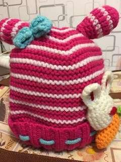 🚚 桃粉紅色小兔毛線帽(小孩用