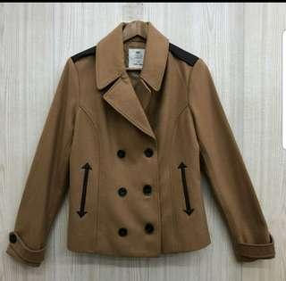NET 女 駝色排釦羊毛短大衣外套  10號