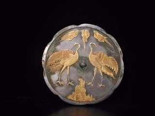清 純銀「鶴紋」鏡