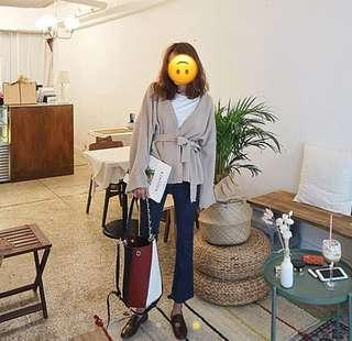 Korean oversized tie cardigan