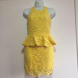 CNY Yellow Peplum Embroided Dress