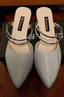 銀色前/後帶低踭鞋
