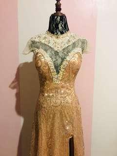 Fancy Dark Gold See Through Gown (For Rent)