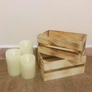 Warm Flickering LED Candles (Battery Operated) & Mini Wooden Crates Rental