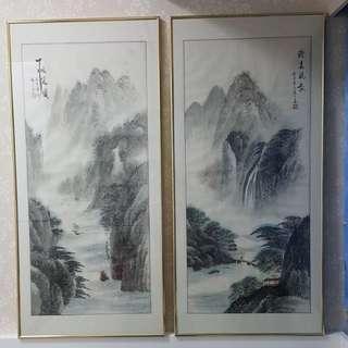 1折售名畫家山水畫(一帆風順,源遠流長)1套兩幅