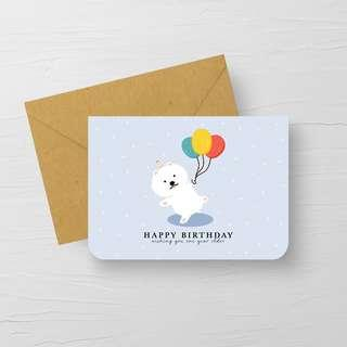 """""""HAPPY BIRTHDAY"""" White Poodle with balloons CARD"""