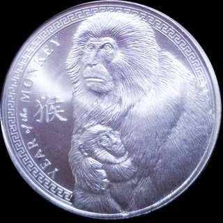 🚚 2016 Year of the Monkey 1 oz Silver Round in capsule