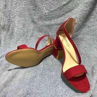 Red Block Heels Sandals