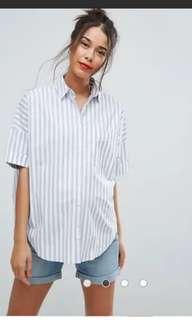 ASOS maternity blue and white striped shirt