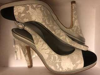 Chanel Almost New Size 37 Classic Black and White Slingback High Heel shoe