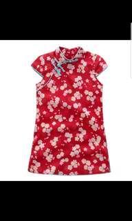 Red cherry blossom cheongsam dress for Chinese cny racial harmony