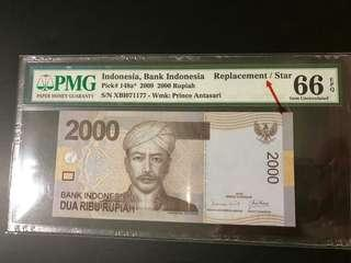 """Indonesia - 2000 Rp (2009) """" Replacement Note""""   PMG 66 EPQ"""