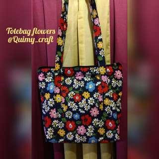 Totebag motif flowers