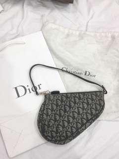 Authentic Dior navy canvas saddle mini