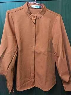 🚚 全新 磚紅色燈籠袖襯衫