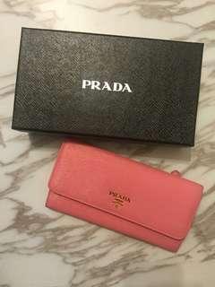 pink and long Prada Wallet