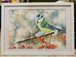 🚚 Ready to hang watercolour painting. Bird.