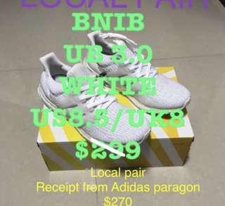 Ultra Boost 3.0 UK8/US8.5 Core White Local Pair