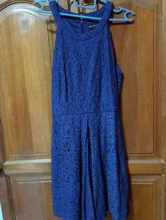 TCL Halterneck Lace Dress in Navy