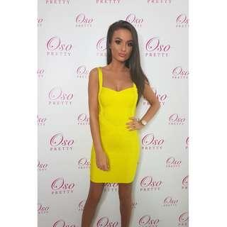 Yellow Bandage Bodycon Party Dress Size S (AU 8-10) BNWOT