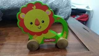 GENUINE Fisher-Price solid wood Lion Roller