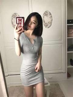 Basic button down dress (Grey)