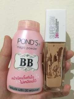 maybelline superstay & ponds magic powder bb