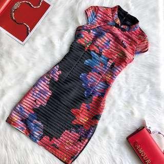 CNY Fitted Cheongsam Floral Black Dress S M L XL #CNYCS