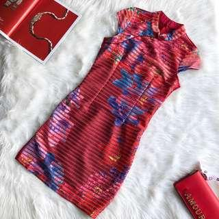 CNY Fitted Cheongsam Floral Red Dress S M L XL #CNYRED