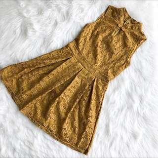 CNY Gold Cheongsam Fit and Flare Dress Sleeveless #CNYCS